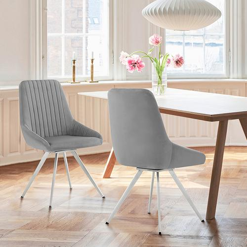 Skye Swivel Gray Velvet and Brushed Stainless Steel Dining Room Chairs - Set of 2