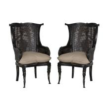 See Details - CANED WINGBACK CHAIR - Set of 2
