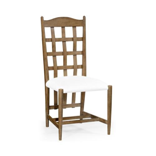 Tarvin Vintage Oak Side Chair, Upholstered in COM