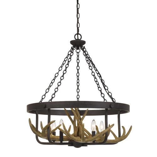 Cal Lighting & Accessories - Angelo 60W X 5 Metal Antler Chandelier