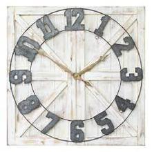 "31.5"" X 1.38"" X 31.5"" Distressed White Rustic Farmhouse Wall Clock"