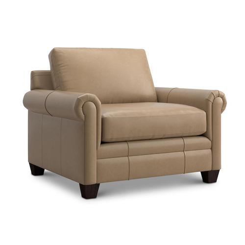 Bassett Furniture - Carolina Leather Panel Arm Chair and a Half