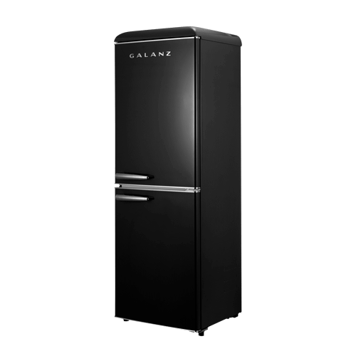 Galanz 7.4 Cu Ft Retro Bottom Mount Refrigerator in Vinyl Black