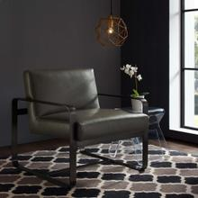 Astute Faux Leather Armchair in Gray