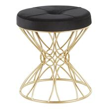 Jasmine Vanity Stool - Gold Metal, Black Velvet