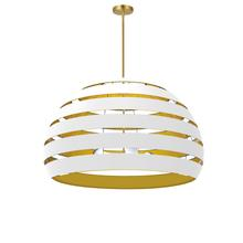 4lt Chandelier Agb, Wh/gld Shade