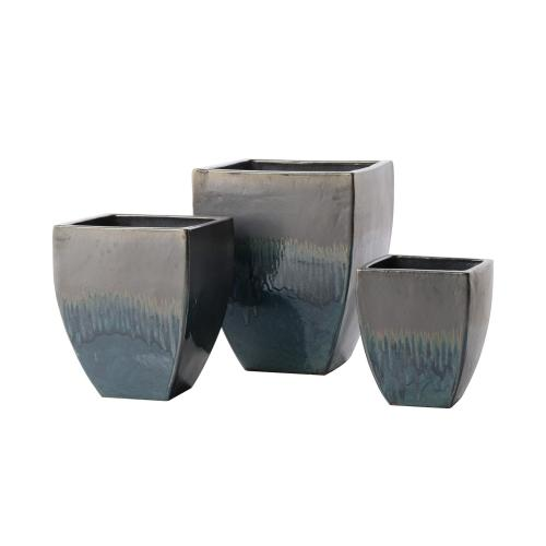 LOW SQUARE GREEN Planter - Set of 3
