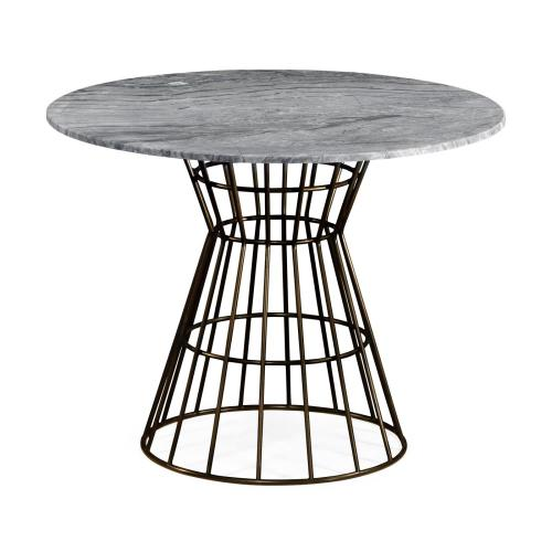 Outdoor circular coffee table with marble top