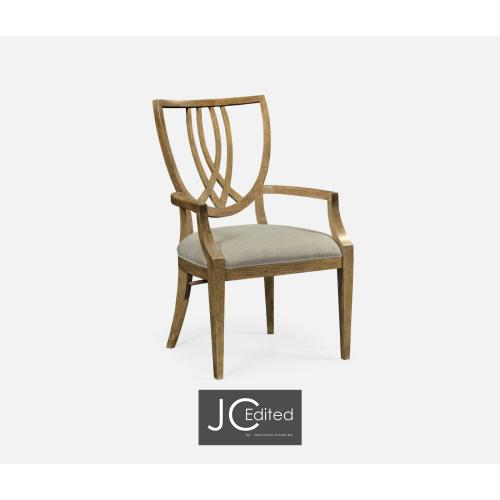 Shield Back English Brown Oak Dining Armchair, Upholstered in COM
