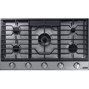 "Transitional 36"" Gas Cooktop, Silver Stainless Steel, Natural Gas/Liquid Propane Product Image"
