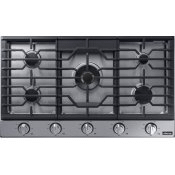 "Transitional 36"" Gas Cooktop, Graphite Stainless Steel, Natural Gas/Liquid Propane"