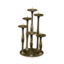 Textured Brass Six Branch Candlestick
