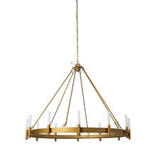 "Decamp II (47.2""x36.2"") Gold Metal Chassis Glass Tube Twelve Light Chandelier"