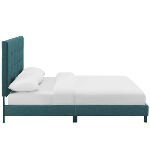 Melanie Queen Tufted Button Upholstered Fabric Platform Bed in Teal