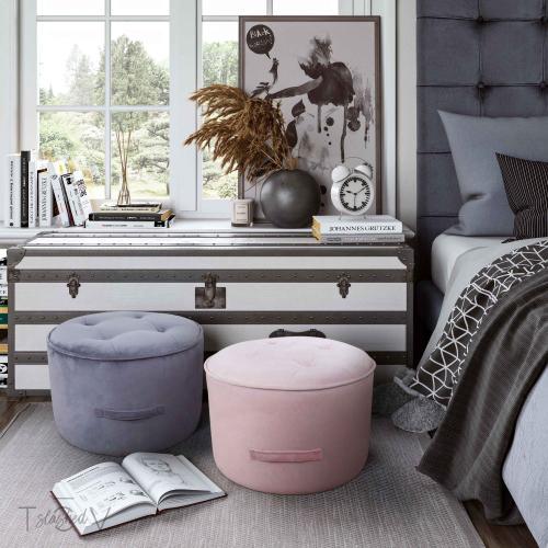 Tov Furniture - Luna Grey Velvet Ottoman