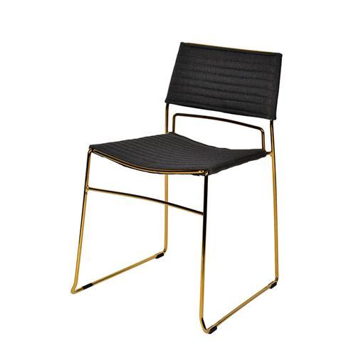 Modrest Swain Modern Grey Fabric & Gold Dining Chair (Set of 2)