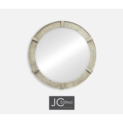Rustic Grey Round Mirror