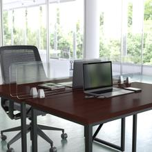 """Product Image - Clear Acrylic Desk Partition, 12""""H x 55""""L (Hardware Included)"""
