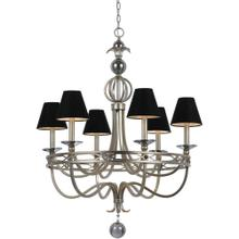 AF Lighting 8700 6-Light Chandelier- Black Shades, 8700-6H
