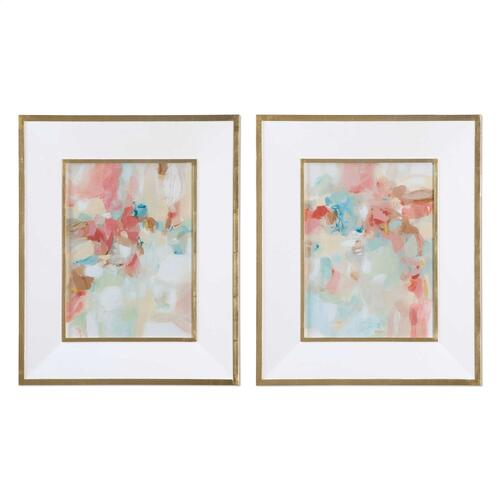A Touch of Blush and Rosewood Fences Framed Prints, S/2