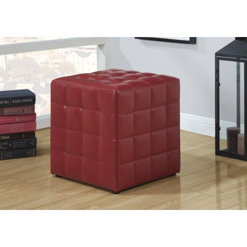 Gallery - OTTOMAN - RED LEATHER-LOOK FABRIC