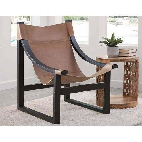 Gallery - Lima Sling Chair, Natural Leather with Black Frame