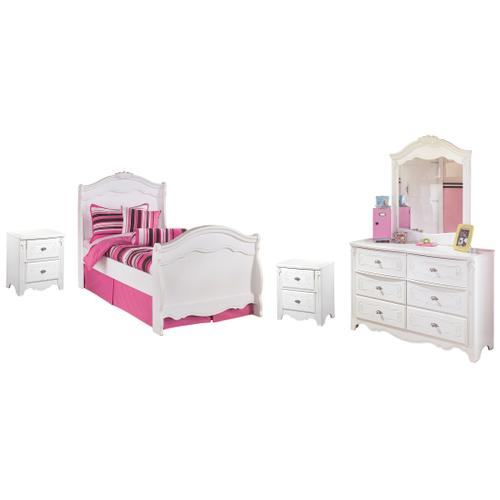 Full Sleigh Bed With Mirrored Dresser and 2 Nightstands