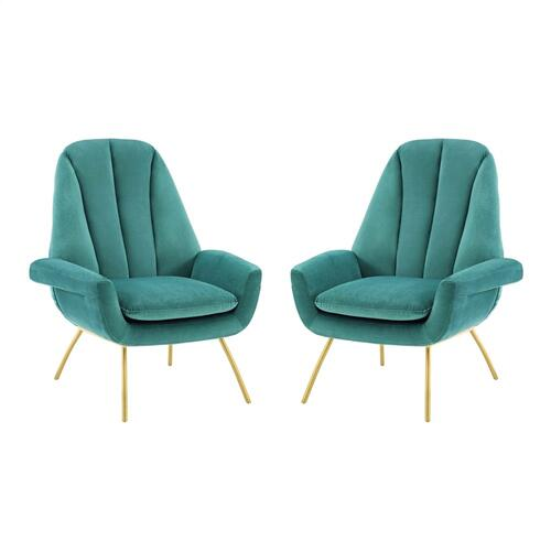 Summit Armchair Performance Velvet Set of 2 in Teal
