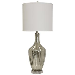 Mercury Glass & Brushed Steel Base Table Lamp With White Drum Shade