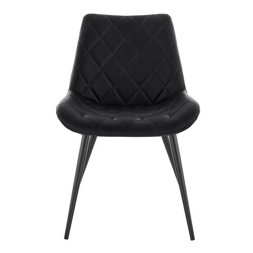 Loralie Black Faux Leather and Black Metal Dining Chairs - Set of 2