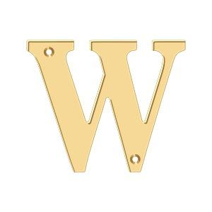 """Deltana - 4"""" Residential Letter W - PVD Polished Brass"""