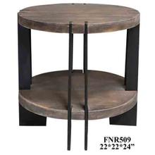 See Details - Bengal Manor Iron and Acacia Wood Round End Table