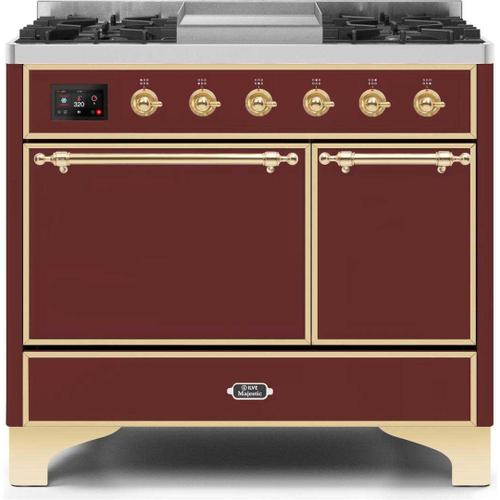 Majestic II 40 Inch Dual Fuel Natural Gas Freestanding Range in Burgundy with Brass Trim
