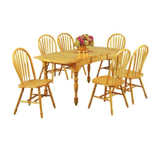 Drop Leaf Extendable Dining Set w/Arrowback Chairs (7 Piece)
