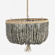 "22"" Manika Wooden Beaded Chandelier, Gray - Small(**40"" cord, not adjustable)"