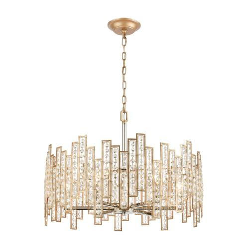 Equilibrium 6-Light Chandelier in Matte Gold with Clear Crystal