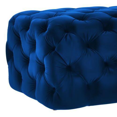 Tov Furniture - Kaylee Navy Velvet Tufted Ottoman