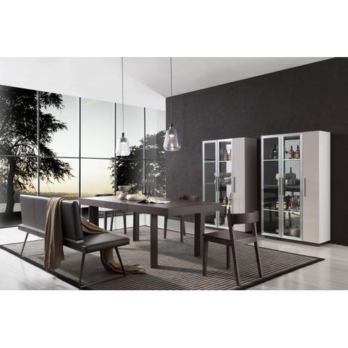 Modrest Union Modern Brown Oak w/ Grey Gloss Wine Cabinet