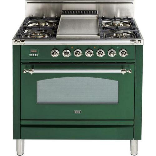 Ilve - Nostalgie 36 Inch Gas Natural Gas Freestanding Range in Emerald Green with Chrome Trim
