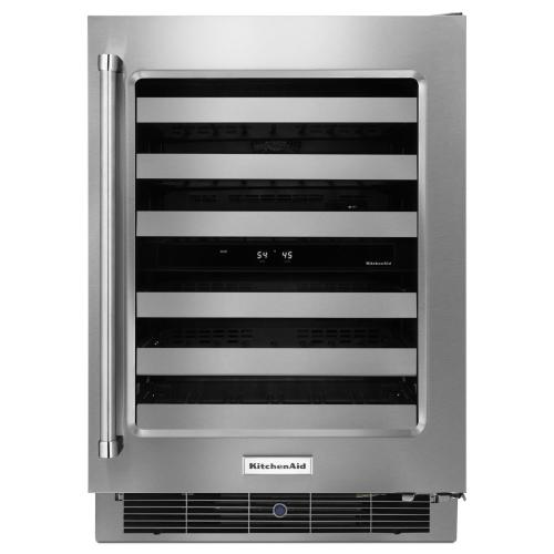 """KitchenAid - 24"""" Stainless Steel Wine Cellar with Metal-Front Racks"""