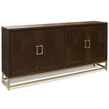 Product Image - BRADFORD SIDEBOARD  Walnut Finish on Hardwood with Brass Finished Metal Base  4 Door