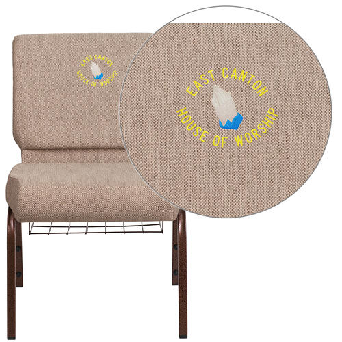 Embroidered HERCULES Series 21'' Wide Beige Fabric Church Chair with 4'' Thick Seat, Book Rack - Copper Vein Frame