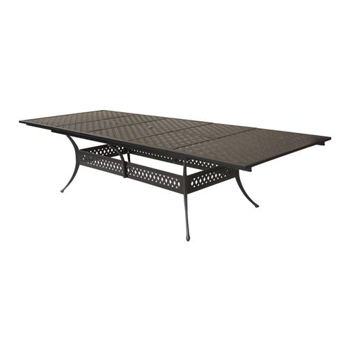 "Bonita Weave 48"" x 84"">105"">126"" Rectangular Die Cast Extension Dining Table w/ Umbrella Hole"