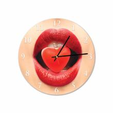 Heart Lips Woman Round Acrylic Wall Clock