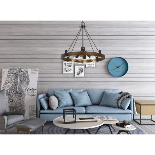 60W X 4 Lucca Wood/Metal Chandelier (Edison Bulbs Not included)