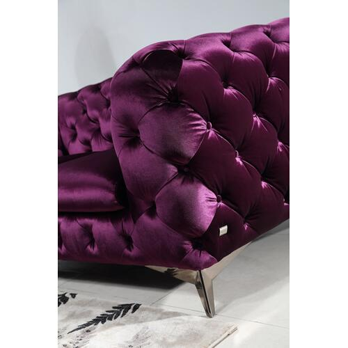 Divani Casa Delilah Modern Purple Fabric Sofa