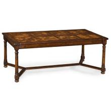 Rectangular parquet oyster coffee table