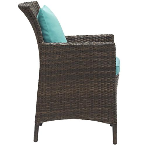Conduit 5 Piece Outdoor Patio Wicker Rattan Set in Brown Turquoise