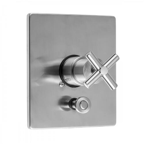 Satin Nickel - Square Plate With Slim Cross Trim For Pressure Balance Cycling Valve With Built-in Diverter (J-DIV-CSV)