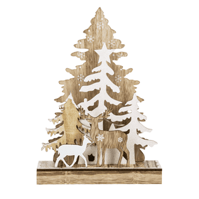 Laser Cut Light Up Christmas Tree and Reindeer Figurine